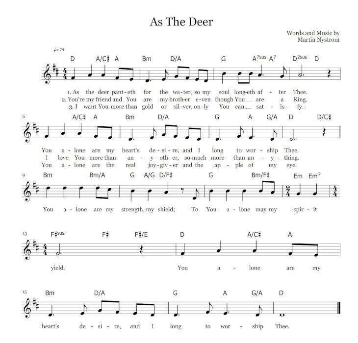 鹿のように 英語 楽譜 As the deer