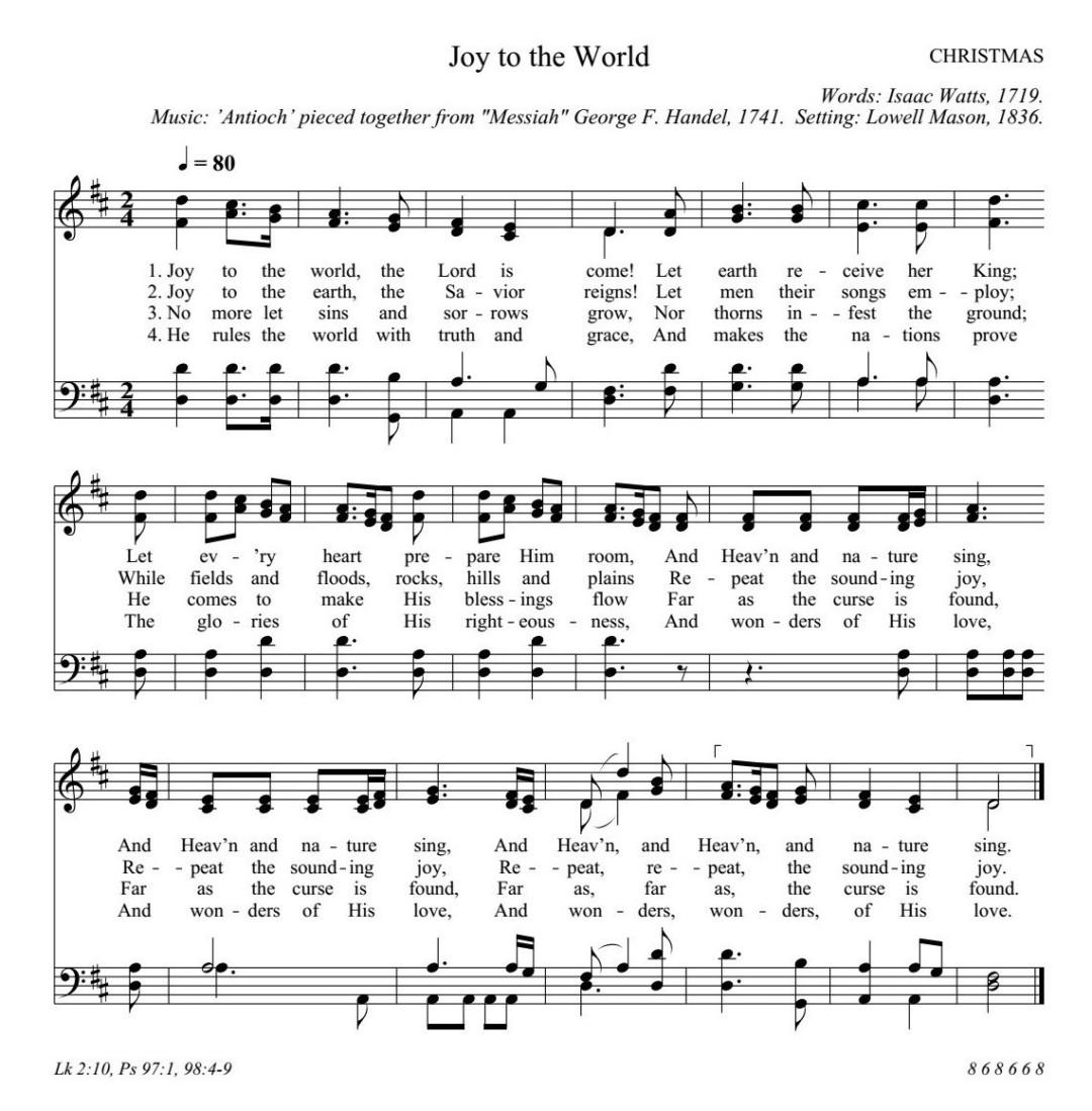 諸人こぞりて もろびとこぞりて  Joy to the world