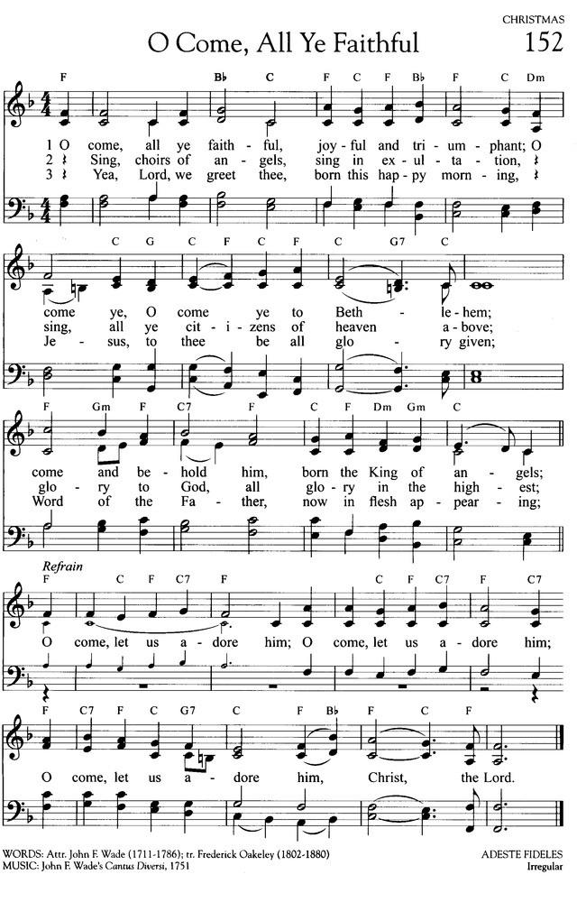 神の御子は 今宵しも 英語 楽譜 O come all ye faithful