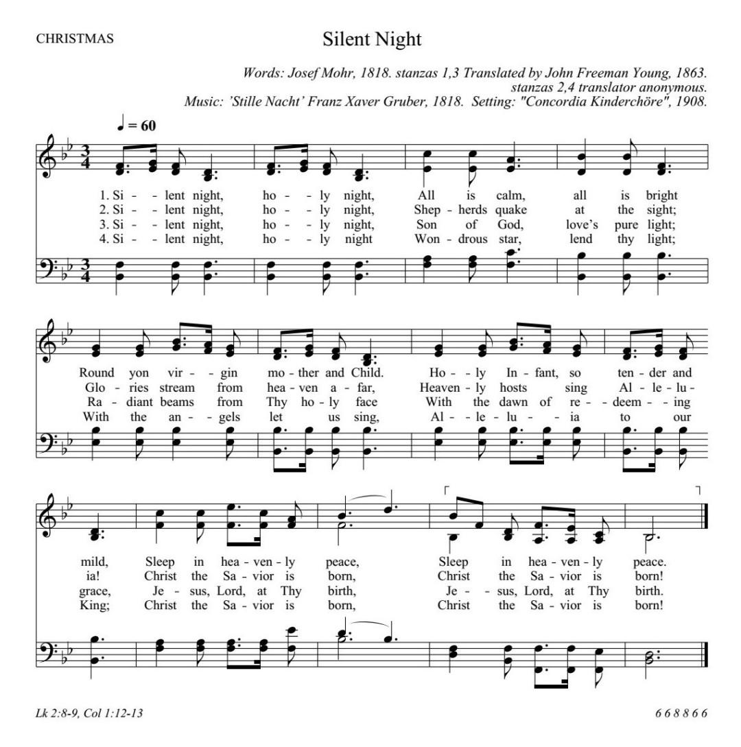 きよしこの夜 英語 楽譜 Silent Night Holy Night