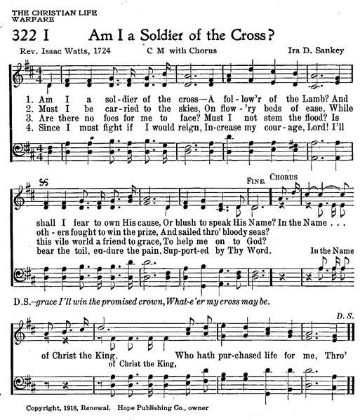 十字架のつわもの 英語 楽譜 Am I a soldier of the cross