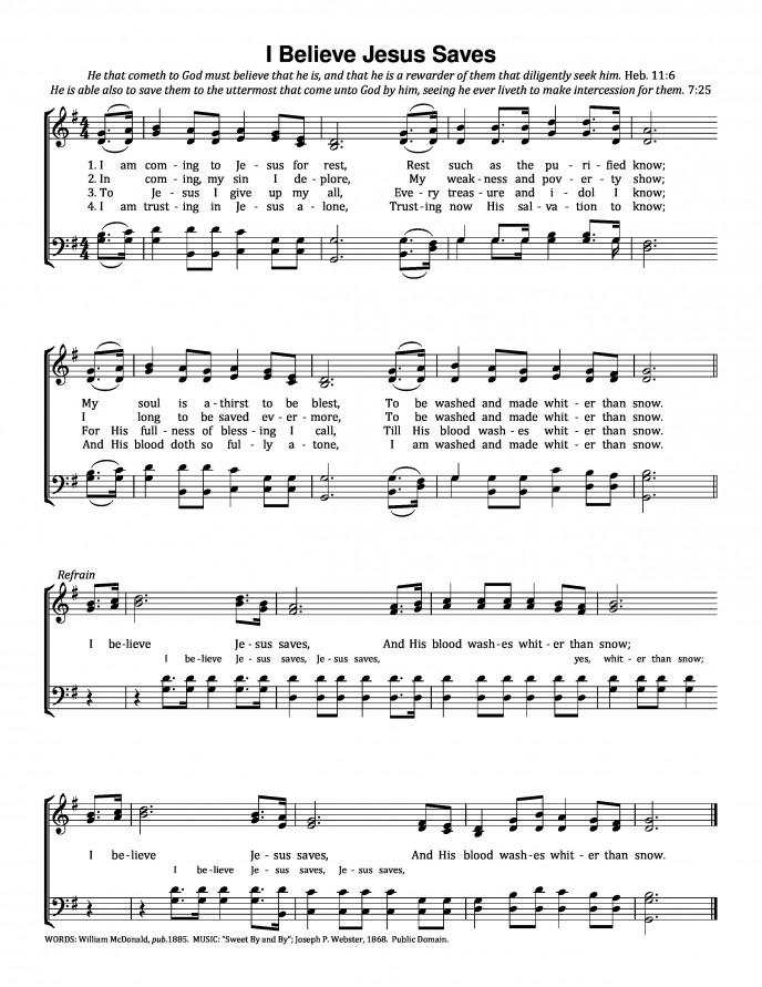 救い主の愛と 英語 楽譜 I believe Jesus saves