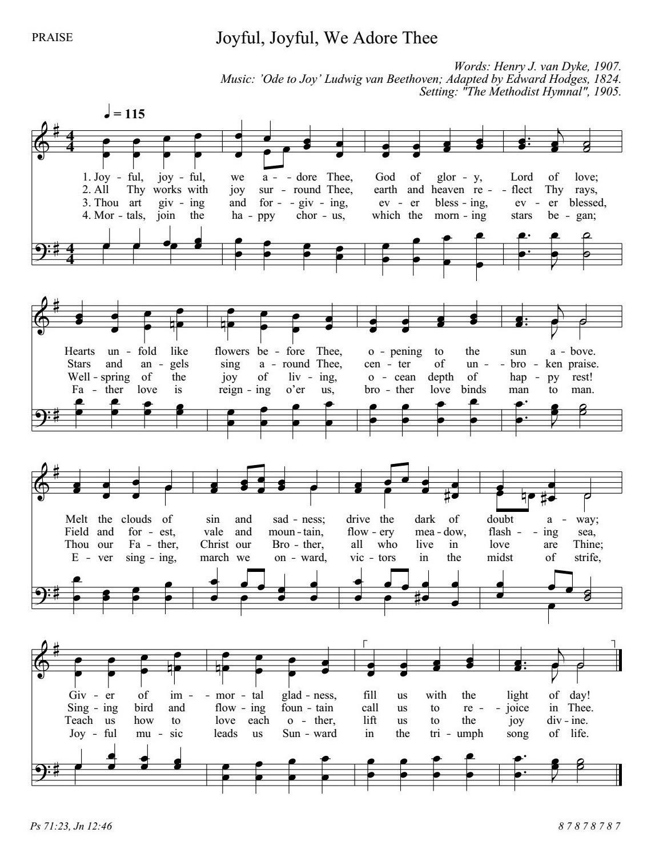 天には御使い 英語 楽譜 Joyful joyful we adore Thee