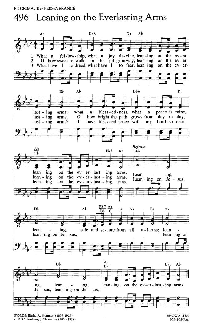 主の御手に頼る日は 英語 楽譜 Leaning on the Everlasting Arms