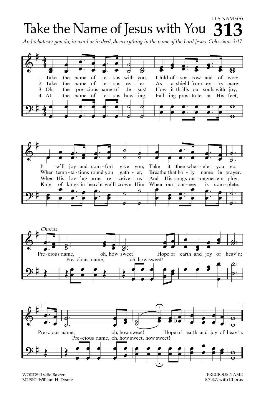 悩める人びと 英語 楽譜 take the name of jesus with you