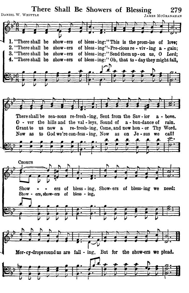 雨を降り注ぎ 英語 楽譜 There Shall be Showers of Blessing