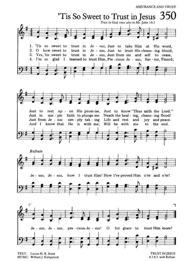 主と主の言葉に 英語 楽譜 Tis So Sweet to Trust in Jesus